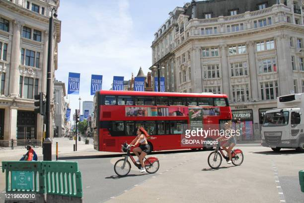 Traffic is observed on Oxford Circus as people begin to return back to the city following the easing of the Covid 19 lockdown Some nonessential...