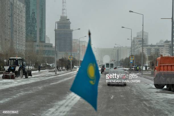 Traffic is seen from inside a vehicle November 2 2015 in Astana Kazakhstan US Secretary of John Kerry begins the third leg of a five nation tour of...