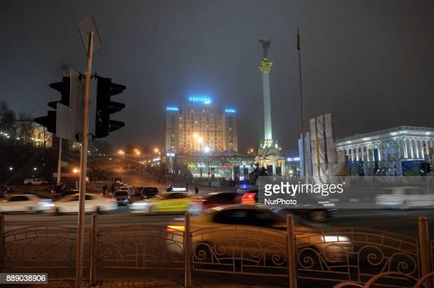 Traffic is seen near Maidan Square is seen in central Kiev Ukraine on December 9 2017