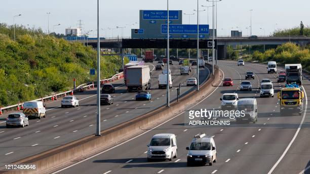 Traffic is seen on the M25 motorway during the morning rush hour near Heathrow Airport in west of London on May 11 2020 British Prime Minister Boris...