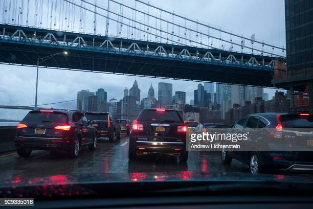Traffic is stalled on the FDR's a[[roach to the Brooklyn Bridge a frequently congested area on February 11 2018 9n New York City There are government...