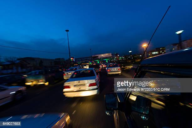 A traffic jam along a highway heading into Tehran