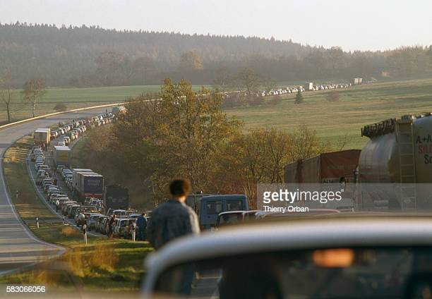 A traffic jam along a highway near Leipzig East Germany as East Germans emigrate following the fall of the Berlin Wall   Location Near Leipzig East...