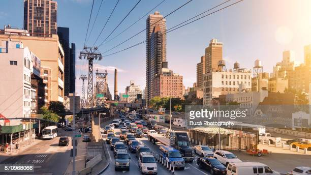 Traffic jam along Queensboro Bridge lower roadway and 2nd Avenue at 59th Street in Manhattan, New York City