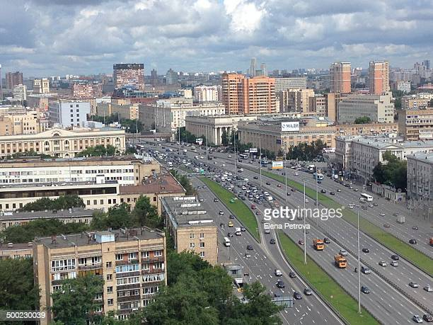 Traffic jam and road accident in Moscow Russia