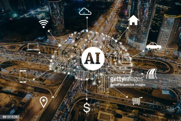 traffic jam artificial intelligence concept - artificial intelligence stock pictures, royalty-free photos & images