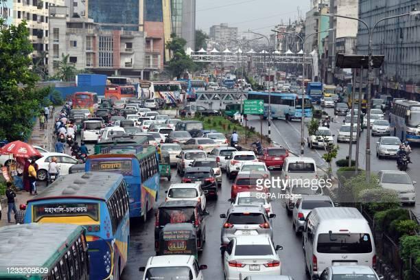 Traffic jam at Banani Chairman Bari road during the COVID-19 coronavirus pandemic in Dhaka, Bangladesh.