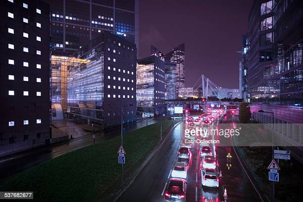 Traffic jam at modern business district in Paris