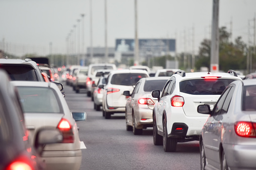 Traffic jam at road.Background blurred - gettyimageskorea