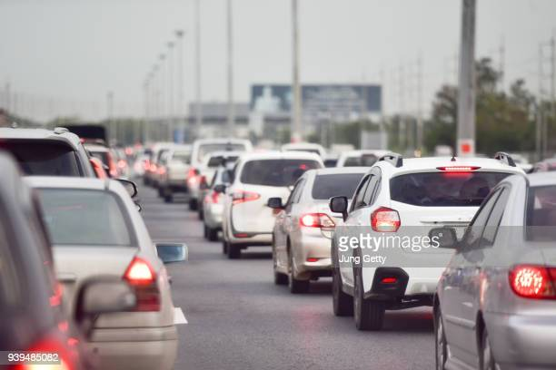 traffic jam at road.background blurred - traffic stock pictures, royalty-free photos & images
