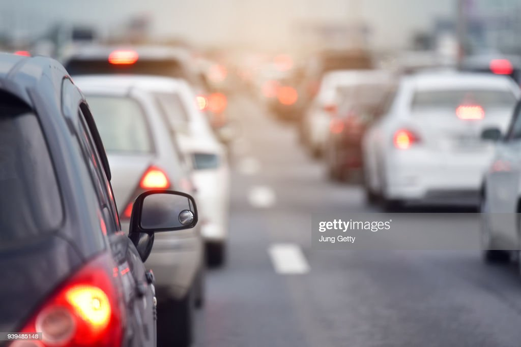 Traffic jam at road.Background blurred : Stock Photo