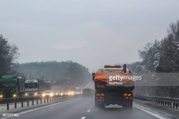 Traffic jam at the Tricity ringroad is seen in Gdansk Poland on 19 January 2018 Heavy snow fall and wind Power has been cut to some 30000 Polish...