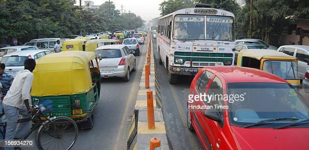 Traffic jam due to heavy shopping rush before Diwali, on November 11, 2012 in Noida, India.