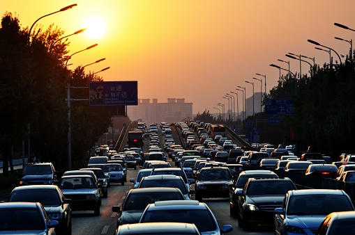 Traffic jam during sunset - gettyimageskorea