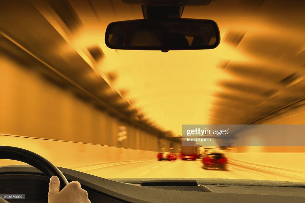 Traffic Jam in an Urban Tunnel : Stock Photo