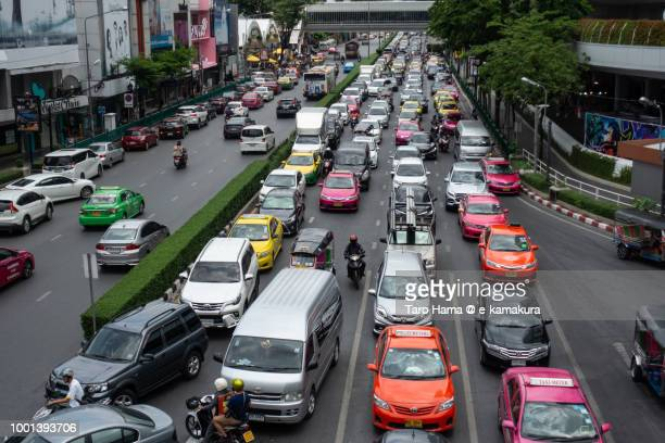 Traffic jam in Bangkok in Thailand
