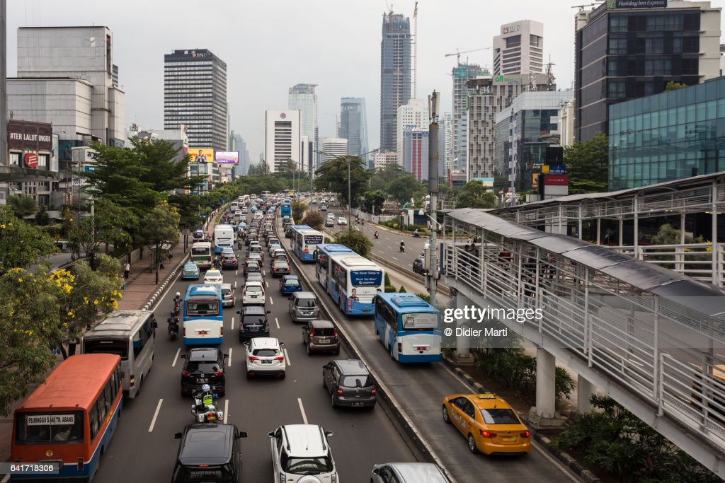 Traffic jam in Jakarta crowded street in Indonesia : Stock Photo