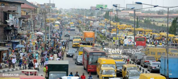 Traffic jam in Oshodi area on March 17 2016 in Lagos Nigeria