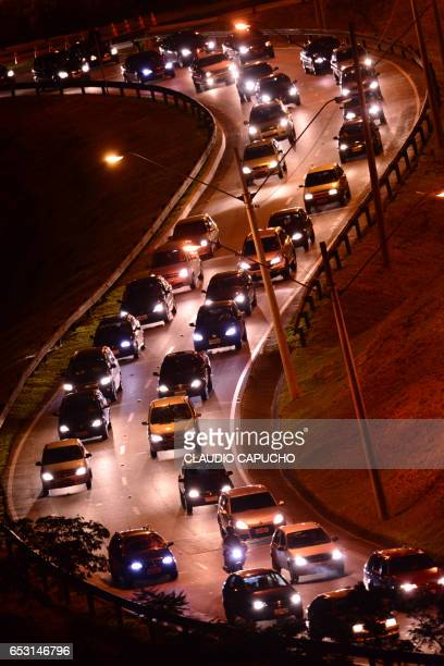traffic jam in s turn - claudio capucho stock photos and pictures