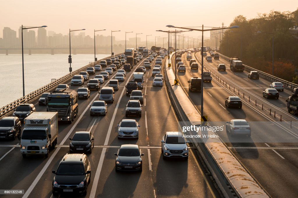 Traffic jam in Seoul : Stock Photo