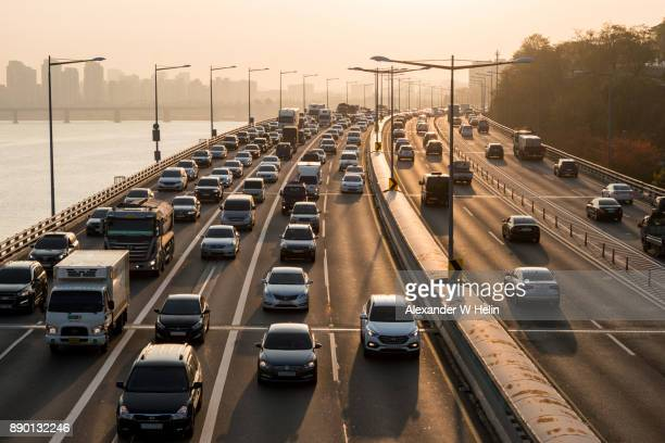traffic jam in seoul - traffic stock pictures, royalty-free photos & images