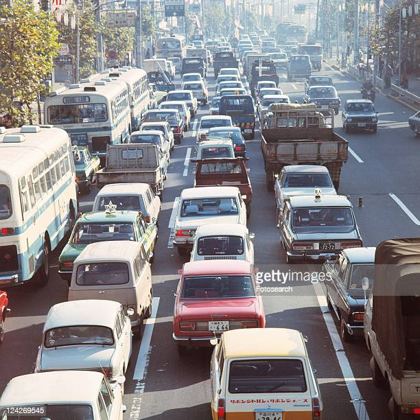 traffic jam in showa - showa period stock pictures, royalty-free photos & images