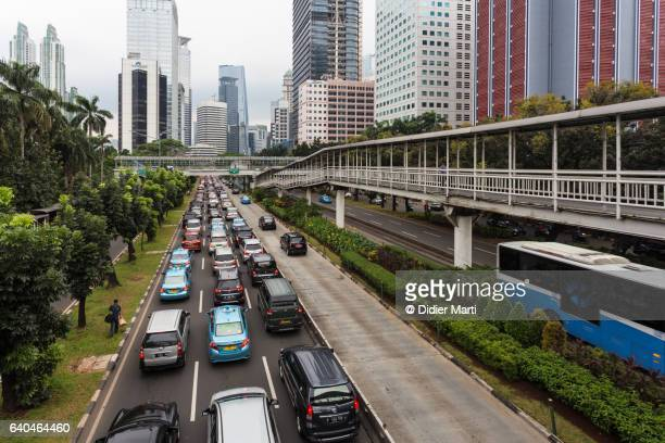 Traffic jam in the financial district of Jakarta, Indonesia capital city