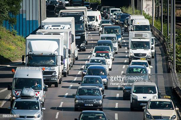 A traffic jam is captured on August 16 2016 in Berlin Germany