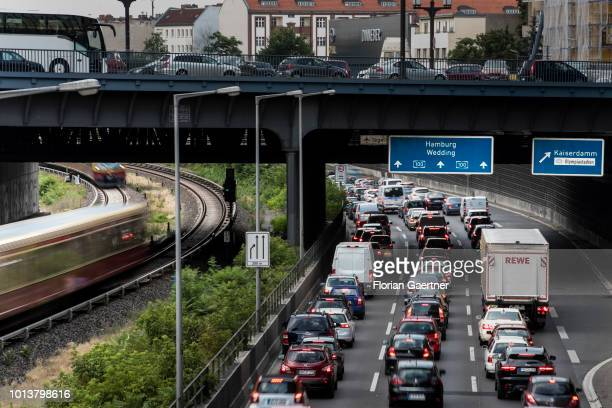 A traffic jam is pictured on August 08 2018 in Berlin Germany