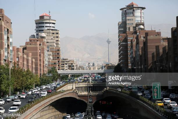Traffic jam is seen as daily life continues despite of the US sanctions against Iran on August 08 2018 in Tehran Iran