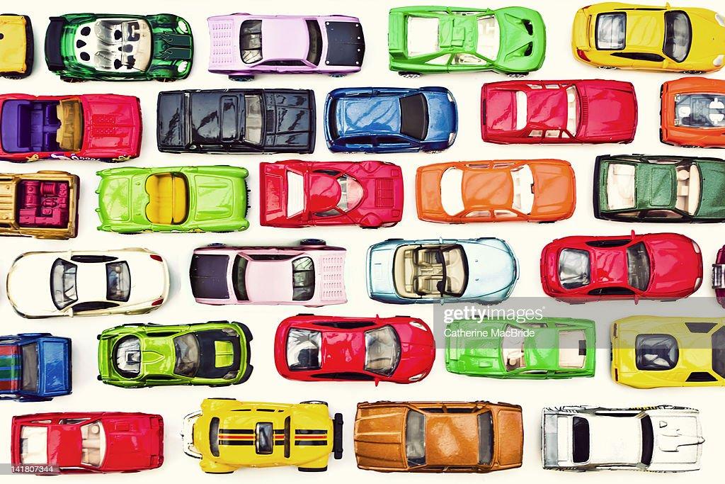 Traffic jam of toy cars : ストックフォト