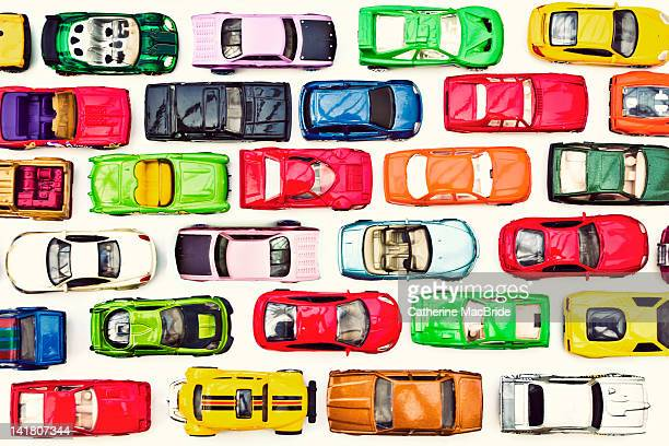 traffic jam of toy cars - catherine macbride stock pictures, royalty-free photos & images