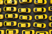 traffic jam of yellow taxis