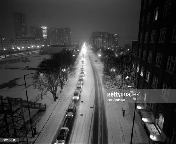 Traffic Jam On A Snowy Night In Portland Oregon Stock Photo - Getty