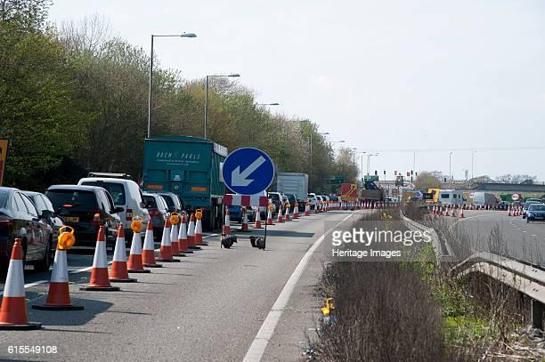 Traffic Jam on A27 roadworks in Sussex near Arundel Artist