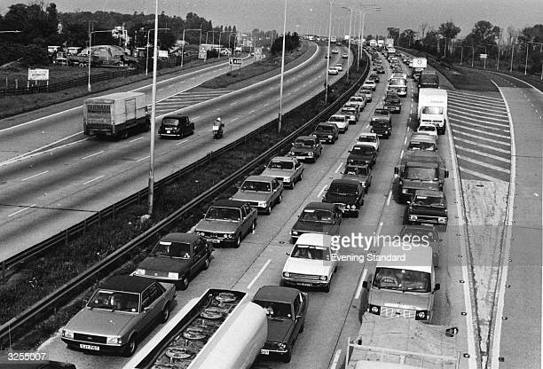 A traffic jam on an arterial road