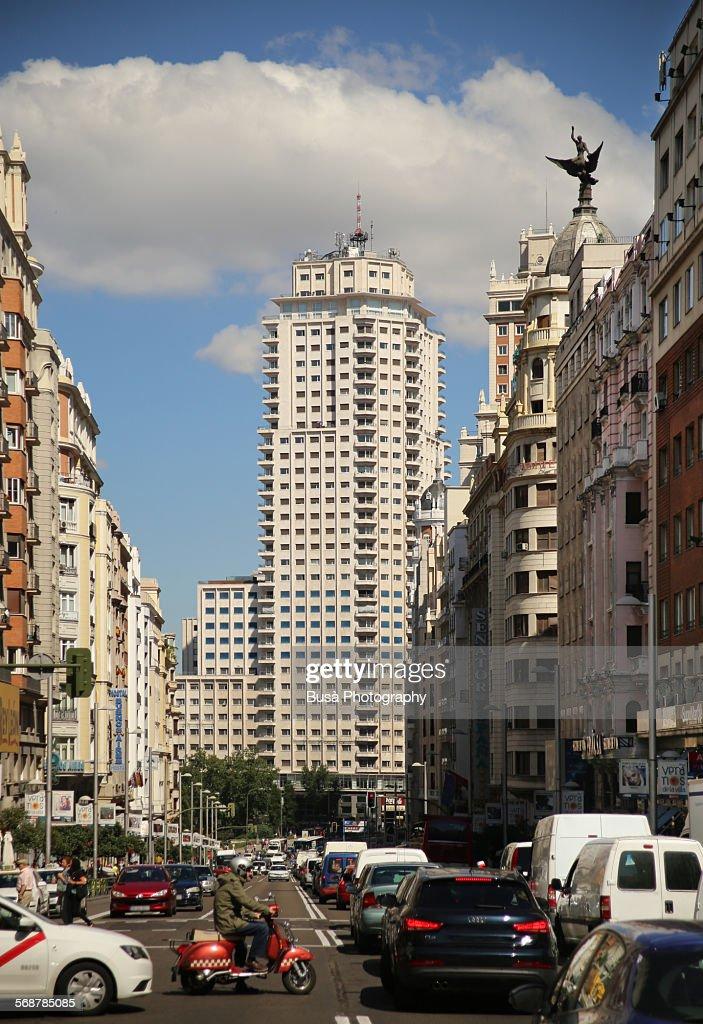 Traffic jam on Calle Gran Via, Madrid : Stock Photo