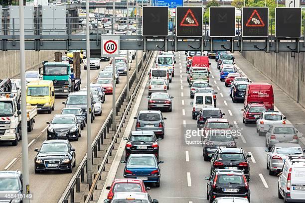 Traffic jam on german highway /A100 in Berlin