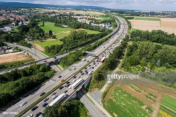 Traffic jam on German highway A5. Aerial view