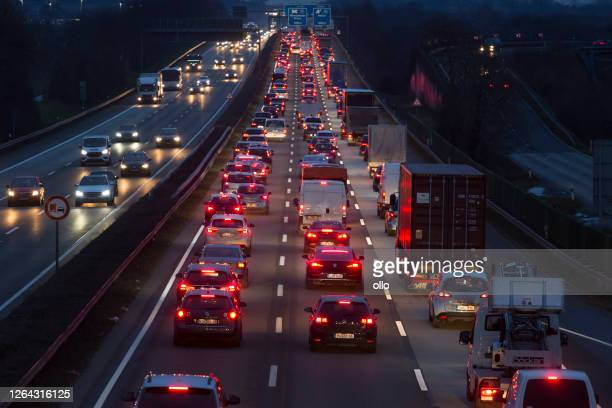 traffic jam on german highway a66 - tail light stock pictures, royalty-free photos & images