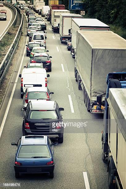 Traffic jam on german motorway/autobahn A66