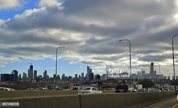 Traffic Jam on Highway, Chicago, Illinois, USA