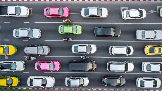 Traffic Jam on multilane road. 1011441936
