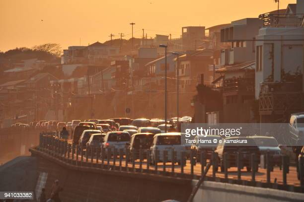 Traffic jam on Route 134, Shonan coast road in Kamakura city in Kanagawa prefecture in Japan in the sunset