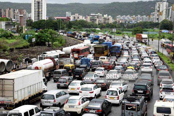 Traffic Jam on SionPanvel highway after the rain at Kharghar on July 4 2018 in Mumbai India Heavy rains made a comeback in Mumbai causing...