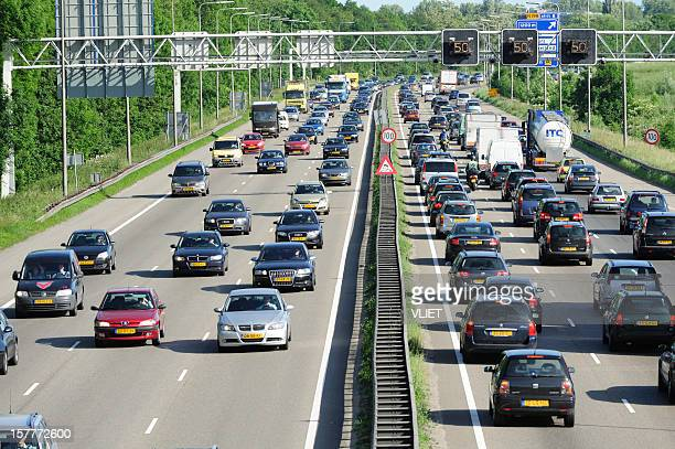 traffic jam on the dutch highway a2 - traffic stock pictures, royalty-free photos & images
