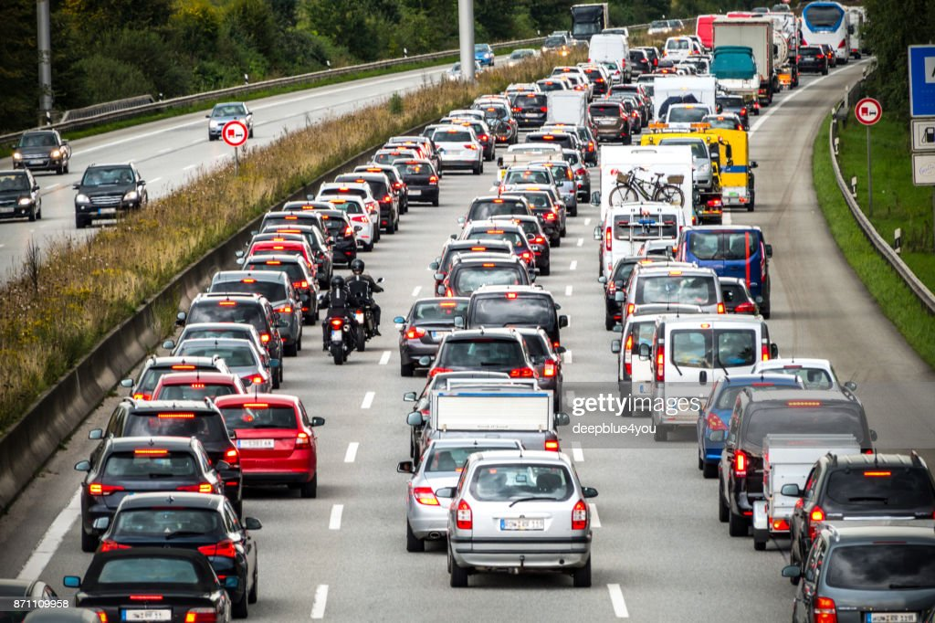 Traffic jam on the german highway : Stock Photo