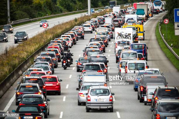 traffic jam on the german highway - germany stock pictures, royalty-free photos & images