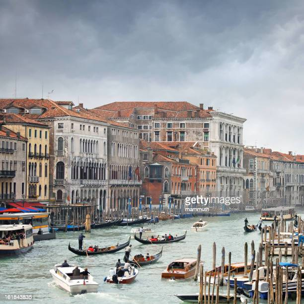 Traffic jam on the Grand Canal in Venice