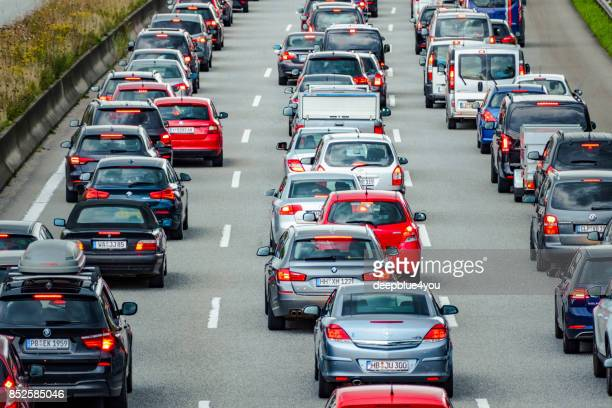 Traffic jam on the motorway in Hamburg, Germany